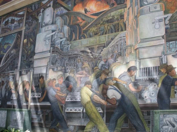 Close-up on one of the Diego Rivera murals at the DIA (photo by the author for Hyperallergic)
