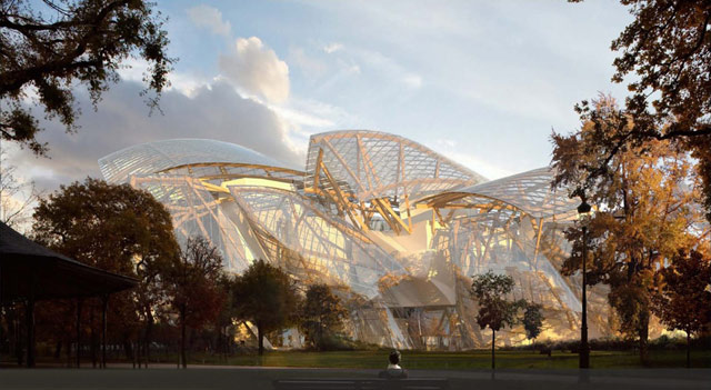Rendering of the Frank Gehry design for the Foundation Louis Vuitton museum in Paris