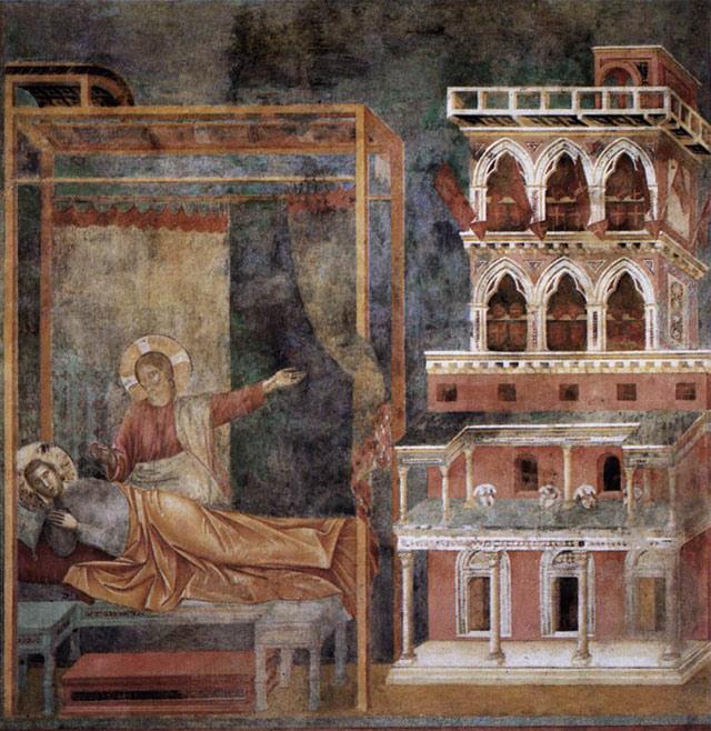 "Giotto, ""Legend of St Francis: Dream of the Palace: (1297–99), fresco, 270 x 230 cm (Upper Church, San Francesco, Assisi) (image via Web Gallery of Art)"