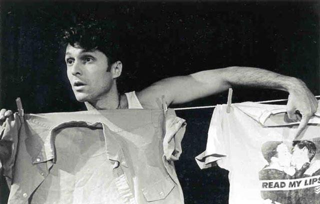 Tim Miller performing in his show Shirts & Skins, 1997. (Source: Tim Miller)