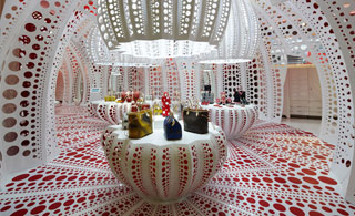 Yayoi Kusama–designed merchandise and store decor for Louis Vuitton (click to enlarge)