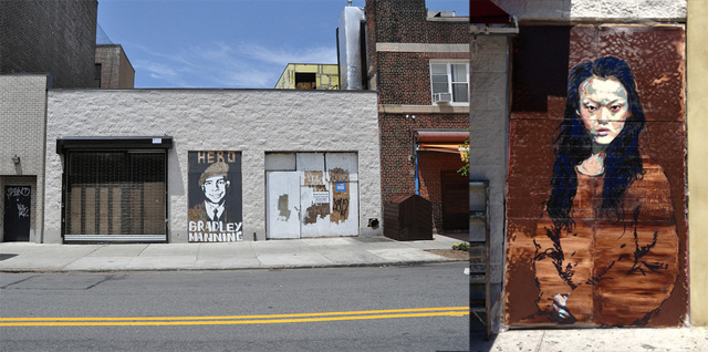 "The original Nassau Avenue mural in June 2011, and the temporary ""cover up"" by Oscar on the right."