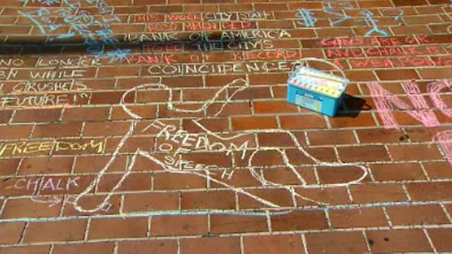 An image from the Chalk-U-py protest in San Diego last weekend. (via  nbcsandiego.com