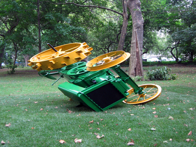 """James Angus, """"John Deere Model D"""" (2013), painted steel, painted cast iron. makes replicas of everyday objects. digital tech to altar proportions."""