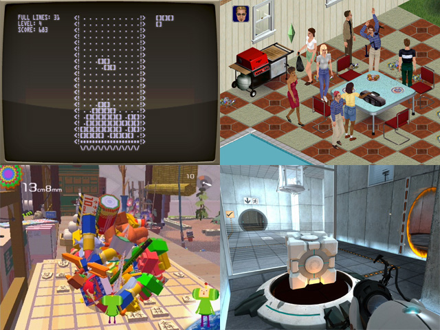 "Views of various games on display at MoMA's Applied Design show, including (clockwise from top left) ""Tetris"" (1984), ""The Sims"" (2000), ""Value"" (2005–2007), and ""Katamari Damacy"" (2003). (all images courtesy MoMA)"