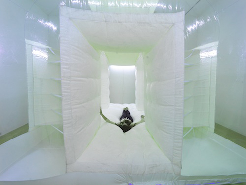 "Alex Schweder, ""Roomograph"" (2011), photosensitive fur, vinyl & fan blown air, 13 x 13 x 9 ft (via alexschweder.com)"