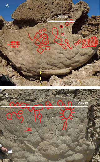 Two images trace the shapes of some of the petroglyphs more clearly and show their relative size (click to enlarge)