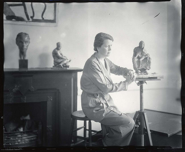 Sculptor Doris Caesar in her studio (photographed by Peter A. Juley & Son, via Smithsonian Institution)