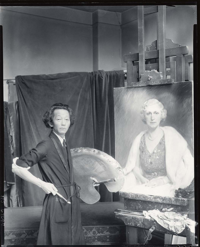 Painter Kyohei Inukai in his studio (photograph by Paul Juley, via Smithsonian Institution)