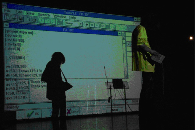Alexei Shulgin performing as part of the Open Source Lounge at Medi@terra 2000, Athens