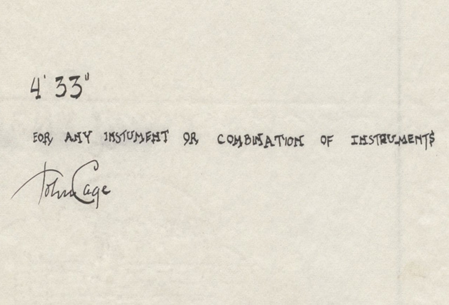 "John Cage, ""4'33"" (In Proportional Notation)"" (1952/1953), ink on paper, each page: 11 x 8 1⁄2"" (27.9 x 21.6 cm). The Museum of Modern Art, New York. Acquired through the generosity of Henry Kravis in honor of Marie-Josée Kravis, 2012. © 2013 John Cage Trust (all images courtesy MoMA)"