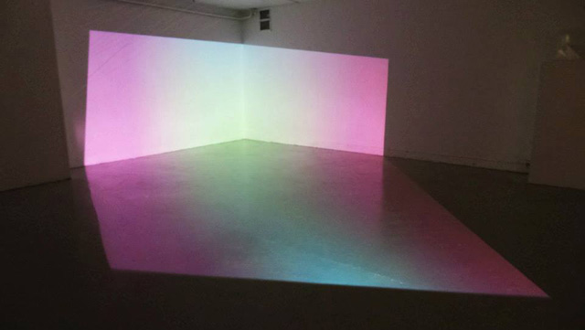 """Anne Senstad, """"Spatial Projection: Colour Synethesia, Variation IV, Silent Version, DV"""" (2013), installation view in """"State of Space"""" at SALT (Saltarelli Salong)"""