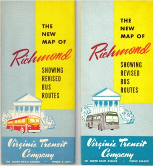 Vintage maps of the Richmond bus system