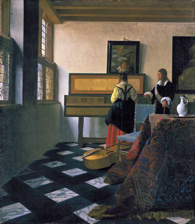 """Johannes Vermeer, """"A lady at the virginals with a gentleman (The Music Lesson)"""" (c 1662–65),oil on canvas, 28.9 x 25.4 in"""