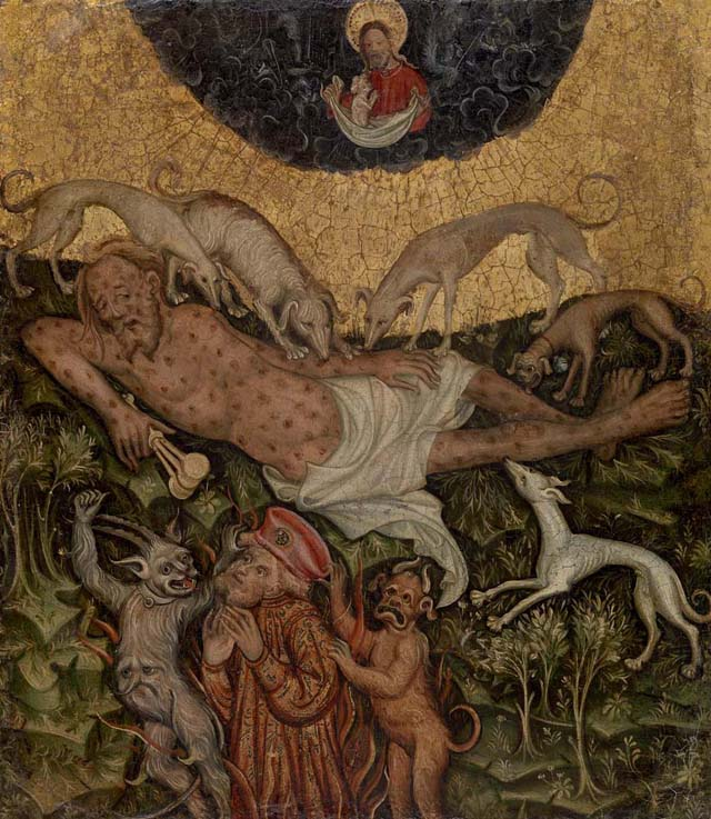 """Westphalian Master, """"Healing of Lazarus,"""" c. 1400, Oil and gold on wood panel, 17 1/8 x 14 7/8 in. Image © 2013 The Barnes Foundation"""