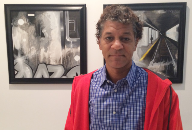 """Graffiti veteran DAZE at the """"Write of Passage"""" show in Chelsea. (photo by the author for Hyperallergic)"""
