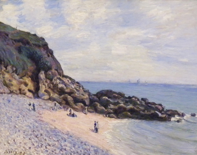 """This painting, reputedly by Alfred Sisley, and titled """"Langland Bay"""" is one of the works that were implicated in"""