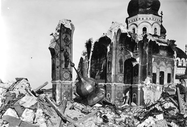 Destruction of the Dormition Cathedral of the Kyivan Cave Monastery in World War II (via Wikimedia)
