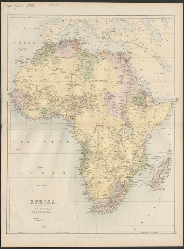 Map of Africa. Courtesy of the David M. Rubenstein Rare Book & Manuscript Library, Duke University.