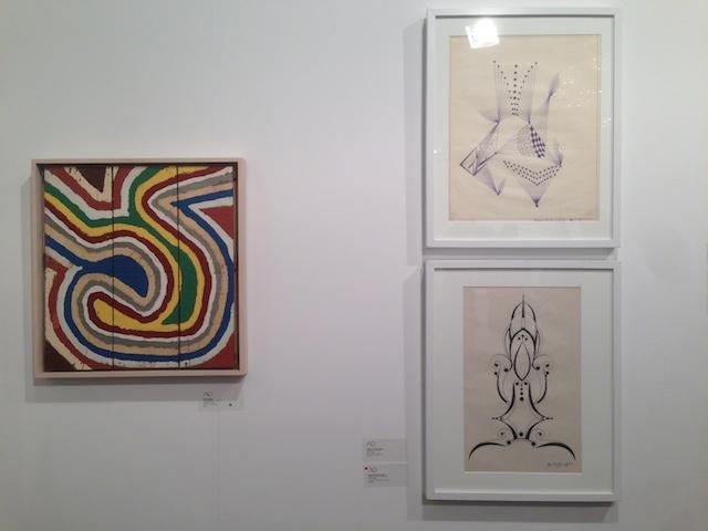 "Left: Emery Blagdon, ""Untitled (EMB 9)"" (c. 1955-86), right: untitled works by Eugene Von Bruenchenhein (top, 1965; bottom, 1969) at Adams and Ollman"