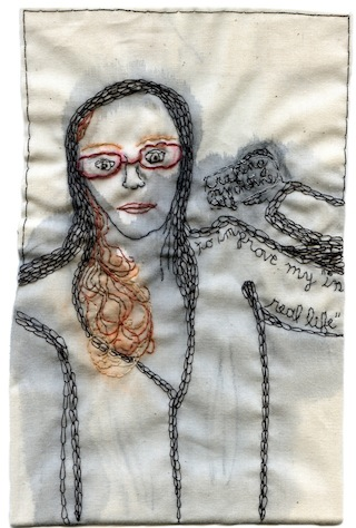 """Iviva Olenick, """"IRL/URL"""" (2013), embroidery and watercolor on fabric, 7.5″ x 4.5″ (image courtesy the artist) (click to enlarge)"""