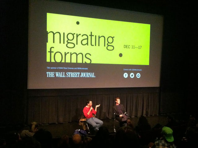 Ryan Trecartin, at left, answers questions onstage after his screening (photo by the author for Hyperallergic)