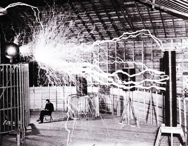 Nikola Tesla in his Colorado Springs lab in 1899 (photograph by Dickenson V. Alley)