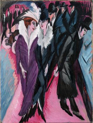 "Ernst Ludwig Kirchner ""Street, Berlin"" (1913) ,oil on canvas, 47 1/2 x 35 7/8"" (The Museum of Modern Art) (© 2008 Ingeborg and Dr. Wolfgang Henze-Ketterer, Wichtrach/Bern) (via moma.org)"