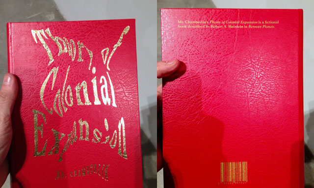 "Front and back of a book from Agnieszka Kurant's ""Phantom Library"" (2011–12)"