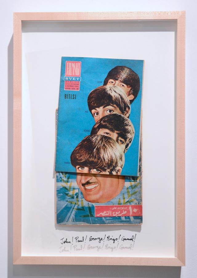 "Michael Rakowitz, ""John! Paul! George! Ringo! Gamal!"" (2014). Yugoslav Flimski Svet magazine (translation = Movie World) October 8, 1964 on Al Musawar magazine, 1960 23.75 x 16.75 inches, framed. All images courtesy of Rhona Hoffman Gallery."