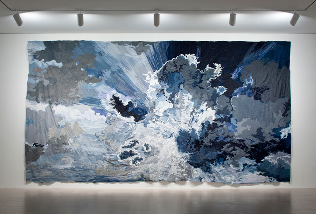 "Jim Hodges, ""Untitled (one day it all comes true)"" (2013), denim fabric and thread, 720 x 1,440 in (courtesy the artist and Gladstone Gallery, New York and Brussels, © Jim Hodges)"