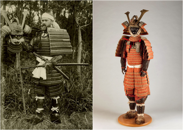 Bashford Dean in 1900 wearing Japanese armor; the Japanese Edo period armor now in the collection of the Metropolitan Museum of Art (courtesy Metropolitan Museum of Art)