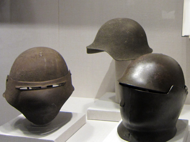 Prototypes for World War I helmets by Bashford Dean (photograph by the author)