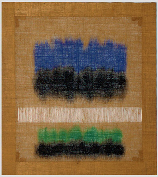 "Salvatore Emblema, ""Untitled,"" 1978, tinded soil on de-threaded burlap, 39 1/3 x 35 1/2 in (image via bosicontemporary.com)"
