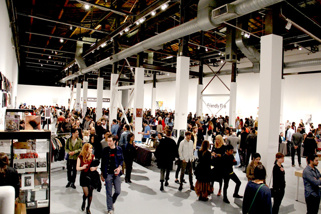 A view of the large MOCA Geffen Center during the 2013 LA Art Book Fair. The large warehouse space will also be the location of this year's LAABF. (via Printed Matter)