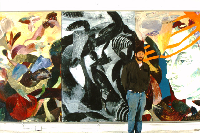 Richard Jacobs with his Yale MFA triptych in the 1980s. (image courtesy the artist)
