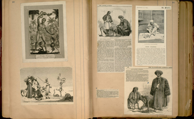 "Houdini's ""Scrapbook about snake charmers and other conjurers"" (1832-1914)"