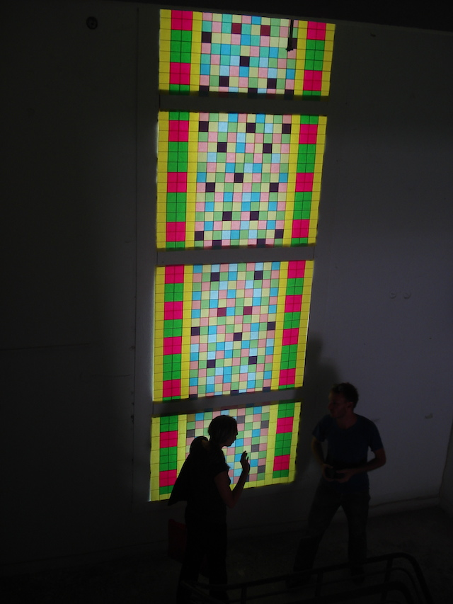 """Light notes"" (2006), Post-it notes on window, dimensions variable"