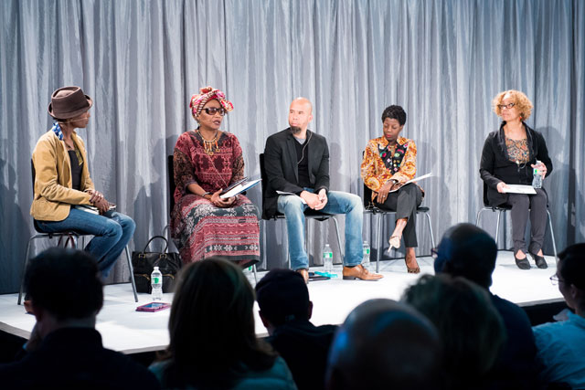 """The """"Baldwin's New York"""" panel at New York Live Arts, featuring, from left to right: Aisha Karefa-Smart, Michele Wallace, Steven G. Fullwood, Thelma Golden, and Patricia Cruz (photo by Ian Douglas, courtesy New York Live Arts)"""