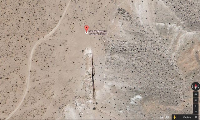"Michael Heizer's ""Double Negative,"" as seen in Google Earth"
