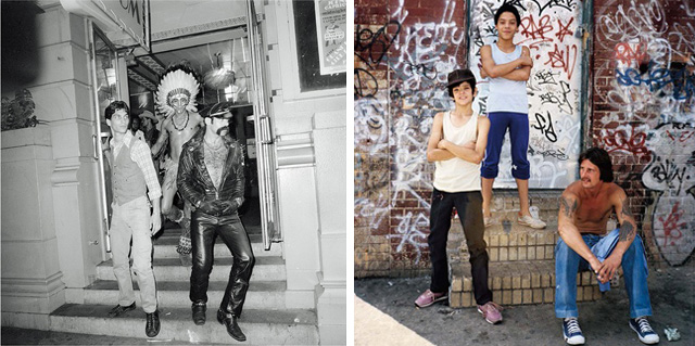 """Meryle Meisler, """"The Village People Stepping Out"""" (The Grand Ballroom, Manhattan, June 1978), and detail of """"Three Amigos"""" (Bushwick, Brooklyn, 1983)"""