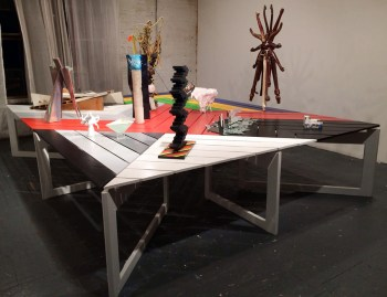 Björn Meyer-Ebrecht's 'Communal Table' at BOS 2014 (photo by Hrag Vartanian/Hyperallergic) (click to enlarge)