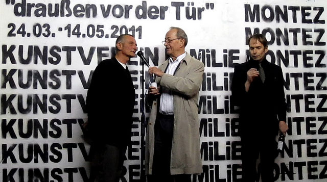 Kasper König in the center, with Mirek Macke on the left and Lionel Röhrscheid on the right (photo by Christiaan Tonnis, via Flickr)