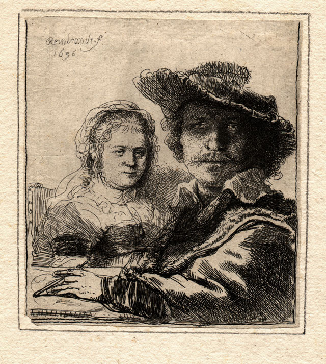 "Rembrandt Harmenszoon van Rijn, ""Self Portrait with Saskia"" (1636), etching, 104 x 95 mm"
