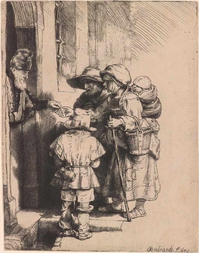 "Rembrandt Harmenszoon van Rijn, ""Beggars Receiving Alms at the Door of a House"" (1648), etching, 165 x 128 mm"