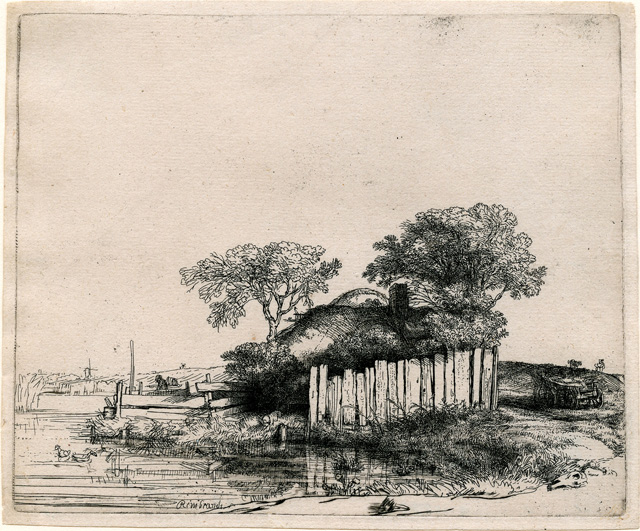 """Rembrandt Harmenszoon van Rijn, """"Cottage with a White Paling"""" (1648), etching, 130 x 158 mm"""