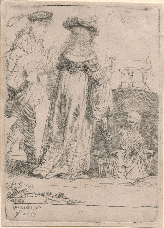 """Rembrandt Harmenszoon van Rijn, """"Death Appearing to a Wedded Couple from an Open Grave"""" (1639), etching, 109 x 79 mm"""