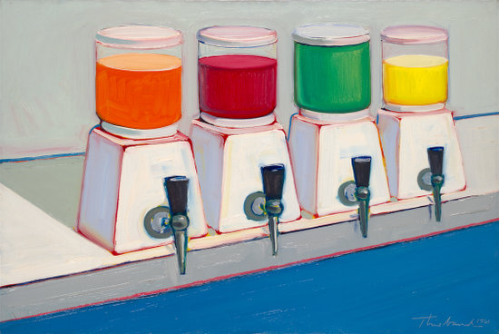 """Wayne Thiebaud, """"Drink Syrups"""" (1961), oil on canvas, 24 1/8 x 36 in. (61.3 x 91.4 cm). Yale University Art Gallery, The Twigg-Smith Collection, Gift of Laila and Thurston Twigg- Smith, b.e. 1942, 2001.148.1. (image © Wayne Thiebaud/Licensed by VAGA, New York, NY)"""