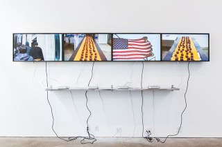 Installation view of Oscar Murillo's 2014 solo show, 'A Mercantile Novel,' at David Zwirner, New York (photo by Scott Rudd) (click to enlarge)
