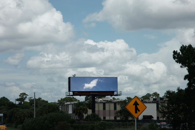 "Shana Lutker, ""The Manifest Destiny Billboard Project: Onward and Upward"" (2013),  billboard (courtesy the artist)"